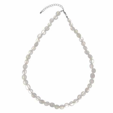 Collier en cristal de roche laiteux - Perles pierres roulées