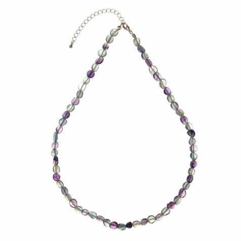 Collier en fluorite multicolore - Perles pierres roulées