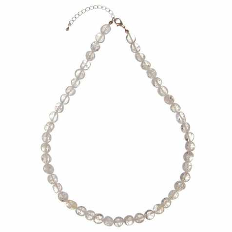 Collier en cristal de roche craquelé - Perles pierres roulées