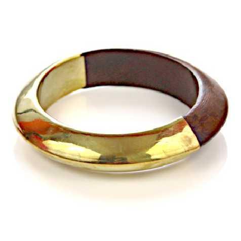 Bracelet bangle métal et bois