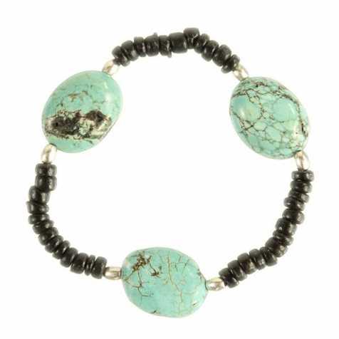 Bracelet en howlite teintée et perles de coco