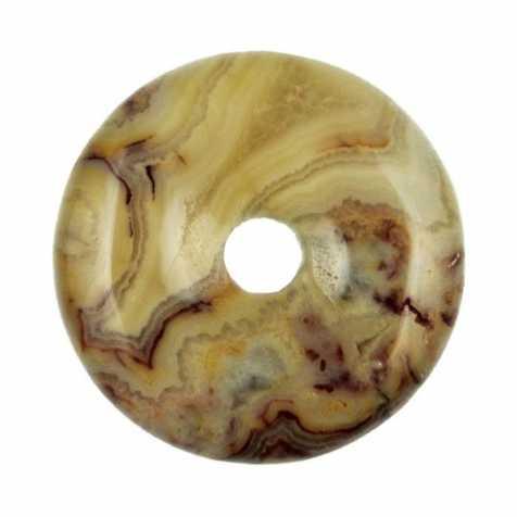 Donut Pi Chinois en agate crazy lace pour pendentif