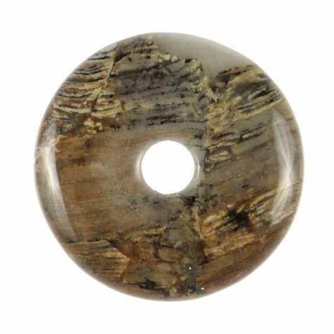 Donut Pi Chinois en jaspe feuille d'argent pour pendentif