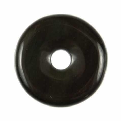 Donut Pi Chinois en obsidienne oeil céleste pour pendentif