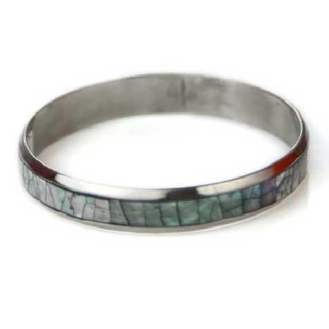Bracelet bangle métal et nacre bleutée