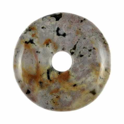 Donut Pi Chinois en jaspe océan pour pendentif