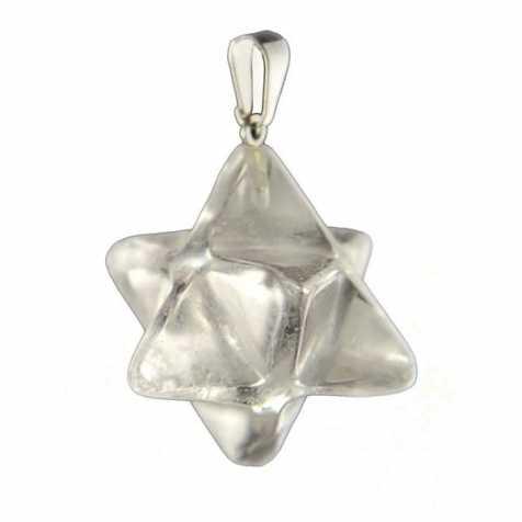 Pendentif étoile merkabah en cristal de roche