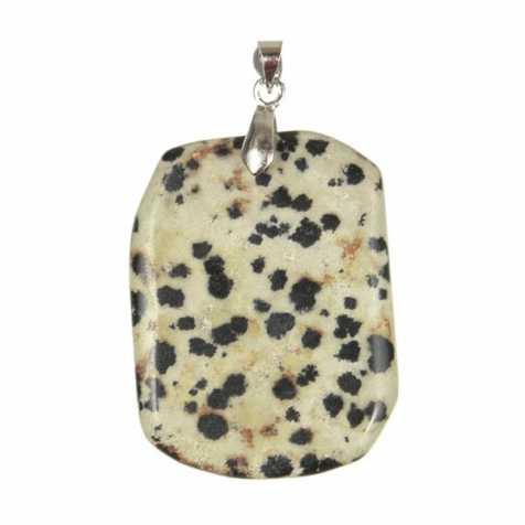 Pendentif pierre plate en jaspe dalmatien