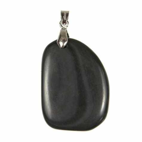 Pendentif pierre plate en obsidienne oeil céleste