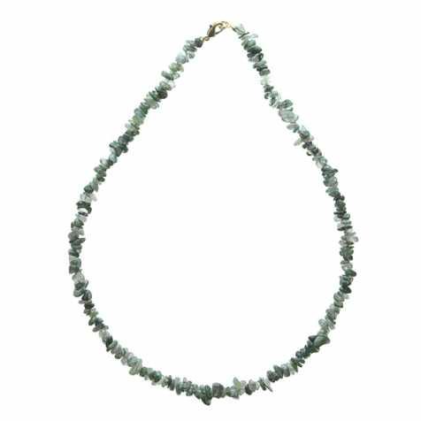 Collier de pierre en agate mousse - perles baroques - 45 cm