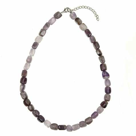 Collier en améthyste - Perles pierres roulées (forme carré)