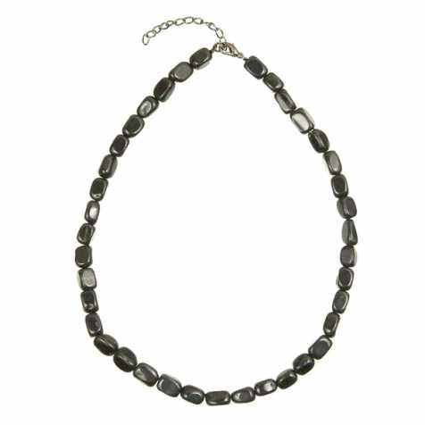 Collier en agate noire ou onyx - Perles pierres roulées