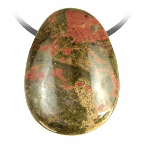 Pendentif goutte pierre percée en unakite