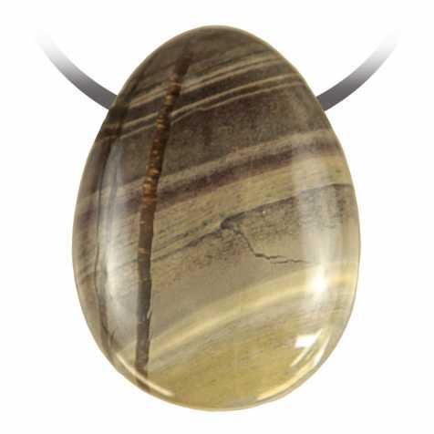Pendentif goutte pierre percée en jaspe rayé