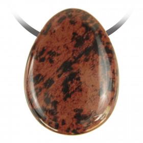 Pendentif goutte pierre percée en obsidienne acajou