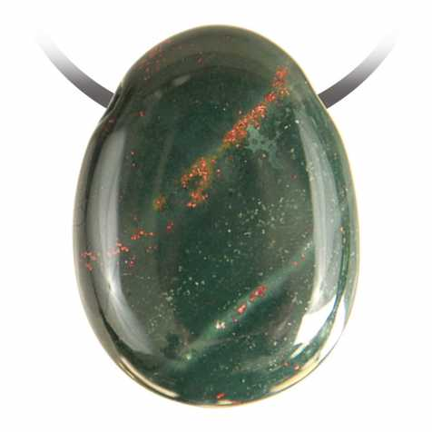 Pendentif goutte pierre percée en jaspe héliotrope