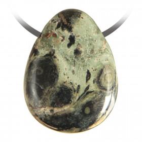 Pendentif goutte pierre percée en jaspe de kambaba