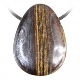 Pendentif goutte pierre percée en oeil de fer