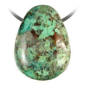 Pendentif goutte pierre percée en chrysocolle