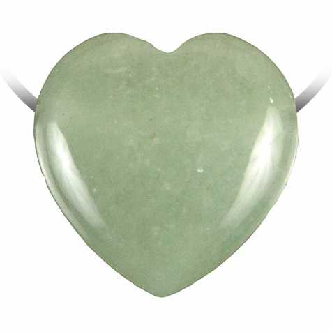 Pendentif coeur pierre percée en aventurine verte