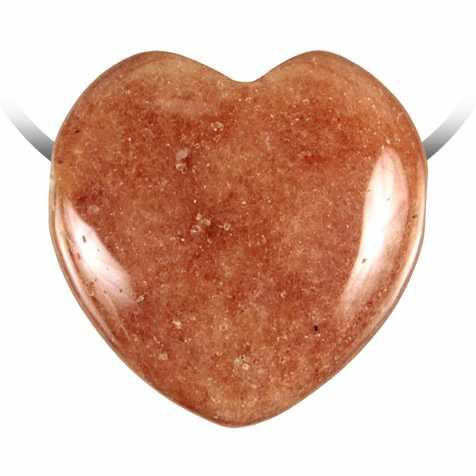 Pendentif coeur pierre percée en aventurine rouge