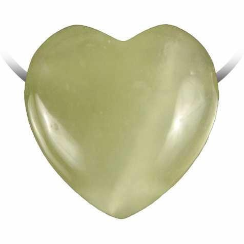 Pendentif coeur pierre percée en jade de Chine