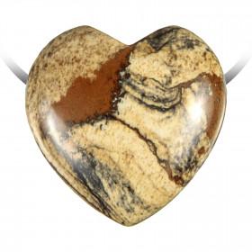 Pendentif coeur pierre percée en jaspe paysage