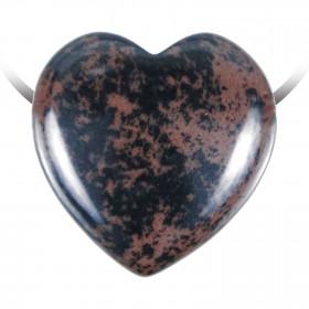 Pendentif coeur pierre percée en obsidienne acajou