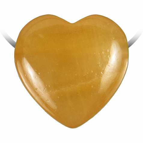 Pendentif coeur pierre percée en calcite orange