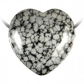 Pendentif coeur pierre percée en obsidienne neige