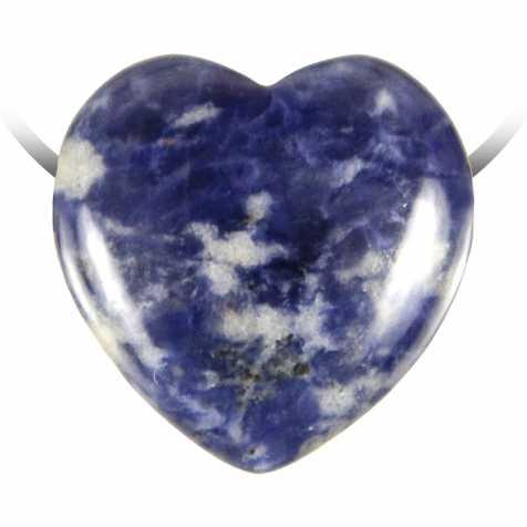 Pendentif coeur pierre percée en sodalite
