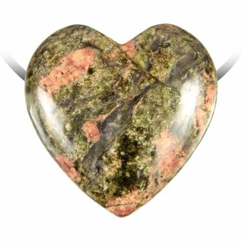 Pendentif coeur pierre percée en unakite