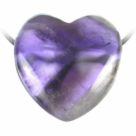 Pendentif coeur pierre percée en améthyste