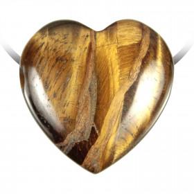 Pendentif coeur pierre percée en oeil de tigre