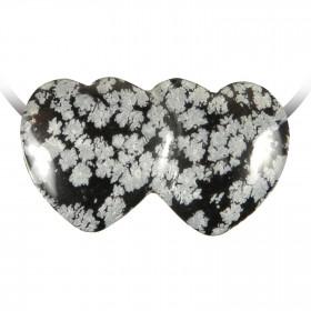 Pendentif double coeur pierre percée en obsidienne neige