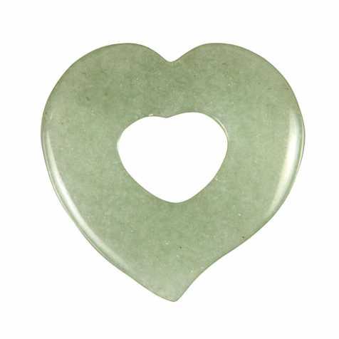 Pendentif donut coeur en aventurine verte