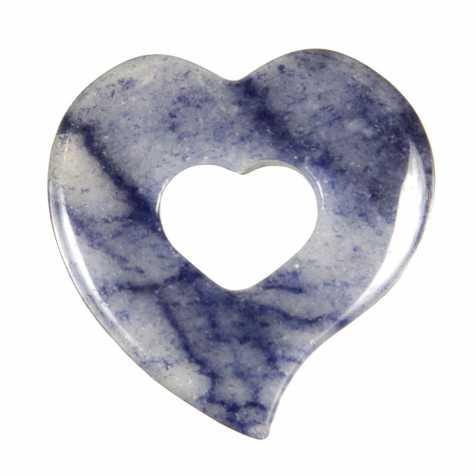 Pendentif donut coeur en quartz bleu