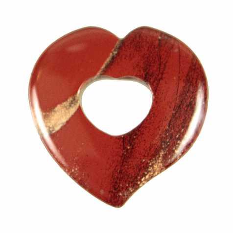 Pendentif donut coeur en jaspe rouge