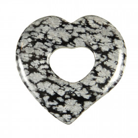 Pendentif donut coeur en obsidienne neige