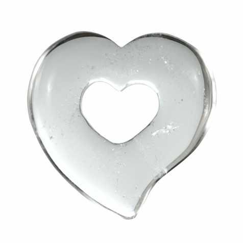 Pendentif donut coeur en cristal de roche