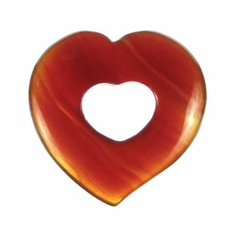 Pendentif donut coeur en cornaline