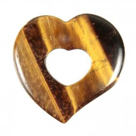 Pendentif donut coeur en oeil de tigre