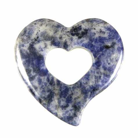 Pendentif donut coeur en sodalite
