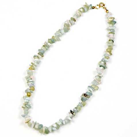 Collier de pierre en aigue-marine - perles baroques - 45 cm