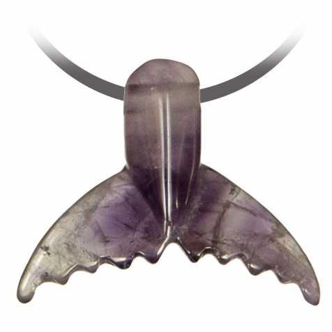Pendentif pierre percée queue de baleine en améthyste
