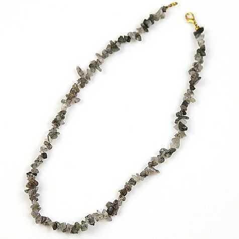 Collier de pierre en cristal de roche rutile - perles baroques - 45 cm