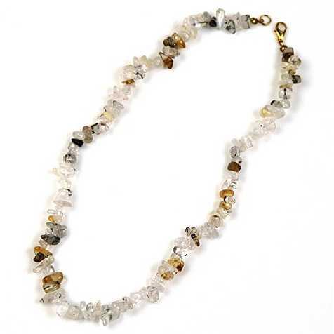 Collier de pierre en cristal avec inclusions - perles baroques - 45 cm
