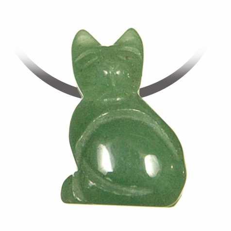 Pendentif pierre percée chat en aventurine verte