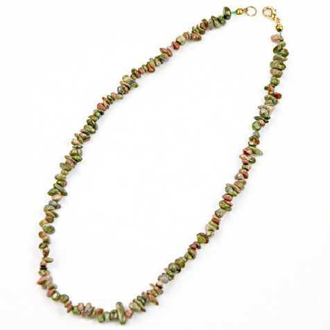 Collier de pierre en unakite - perles baroques - 45 cm