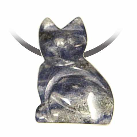 Pendentif pierre percée chat en sodalite